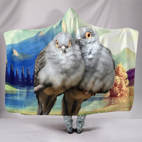 Diamond Dove Bird Print Hooded Blanket
