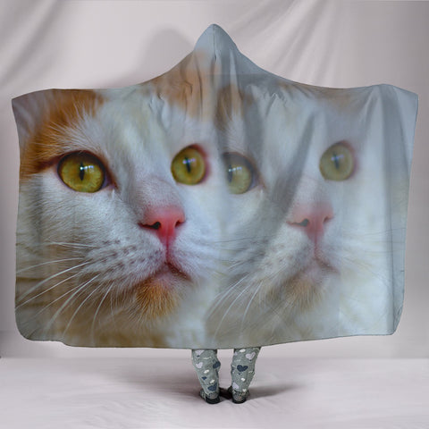 Turkish Van Cat Print Hooded Blanket