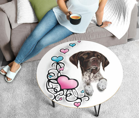 German Shorthaired Pointer Print Circular Coffee Table