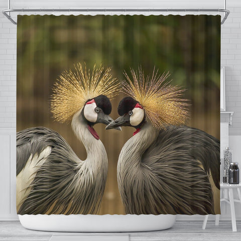 Grey Crowned Crane Bird Print Shower Curtains
