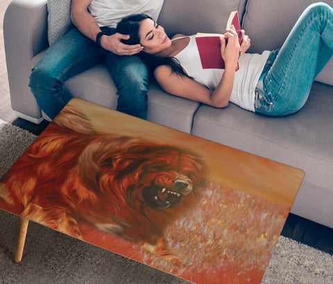 Tibetan Mastiff Dog Print Rectangular Coffee Table
