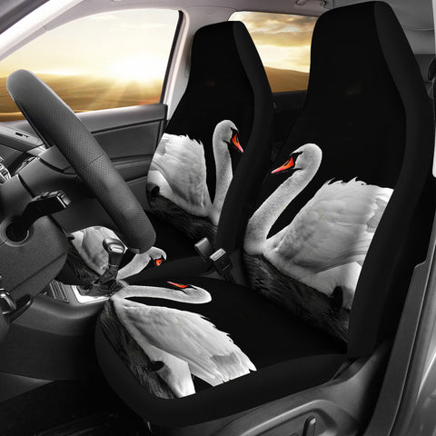 Beautiful Swan Bird Print Car Seat Covers