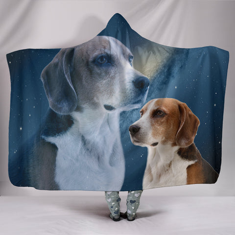 English Foxhound Print Hooded Blanket