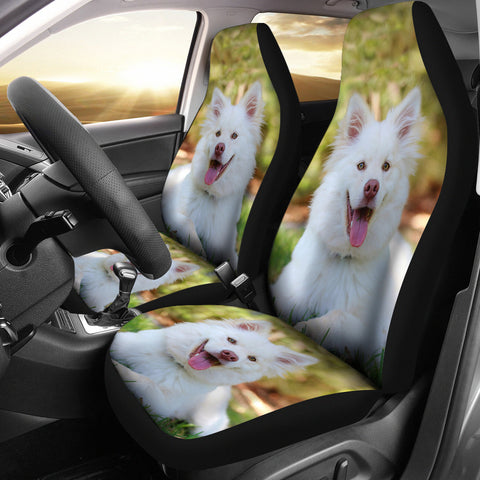 White Shepherd Dog Print Car Seat Covers