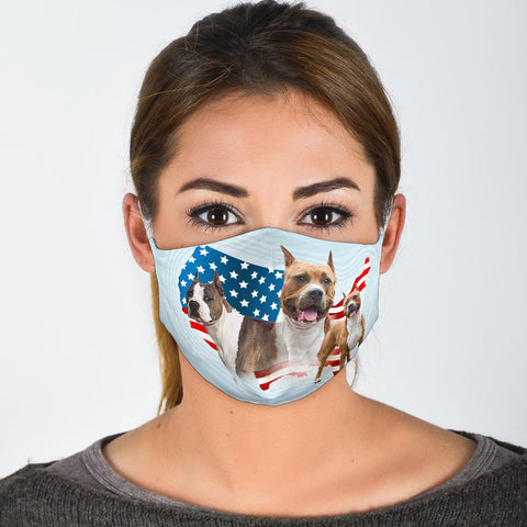Cute American Staffordshire Terrier Print Face Mask