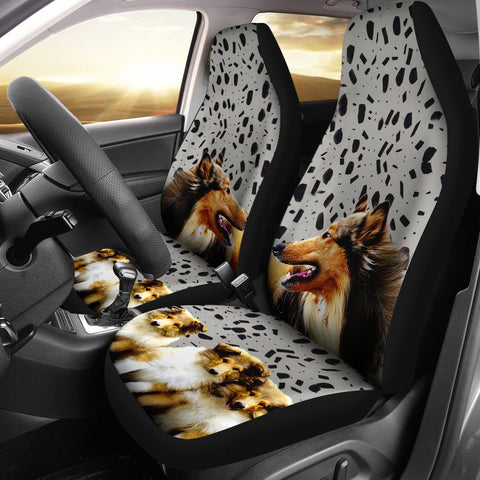 Amazing Rough Collie Dog Print Car Seat Covers