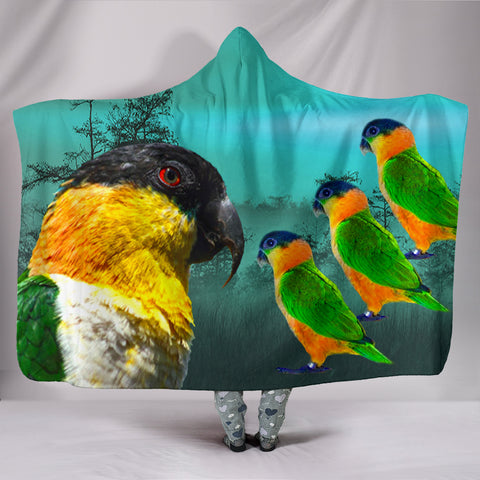 Caique Parrot Print Hooded Blanket