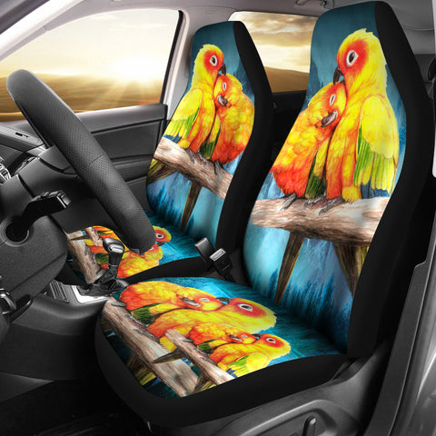 Sun Conure (The Sun Parakeet) Parrot Print Car Seat Covers