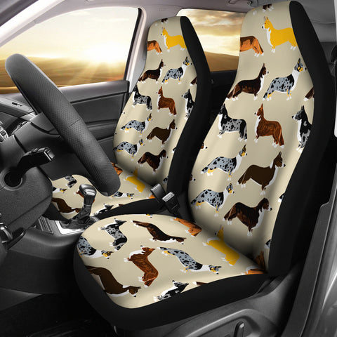 Cardigan Welsh Corgi Pattern Print Car Seat Covers