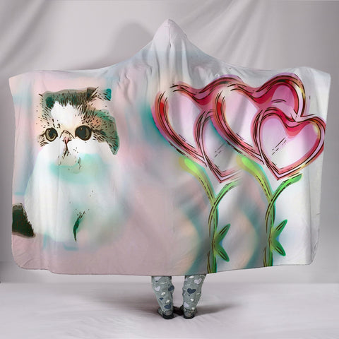 Exotic Shorthair Cat Print Hooded Blanket