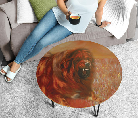Tibetan Mastiff Dog Print Circular Coffee Table