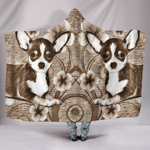 Cute Chihuahua Print Hooded Blanket