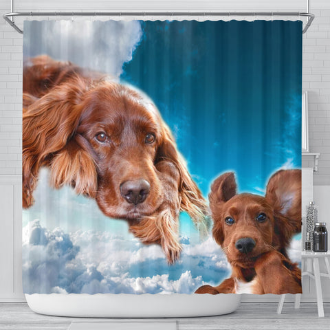 Irish Setter On Sky Blue Print Shower Curtains