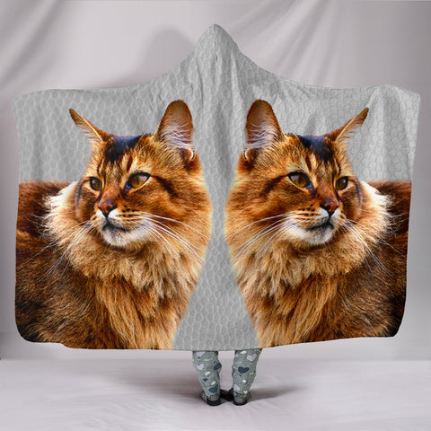 Beautiful Somali Cat Print Hooded Blanket