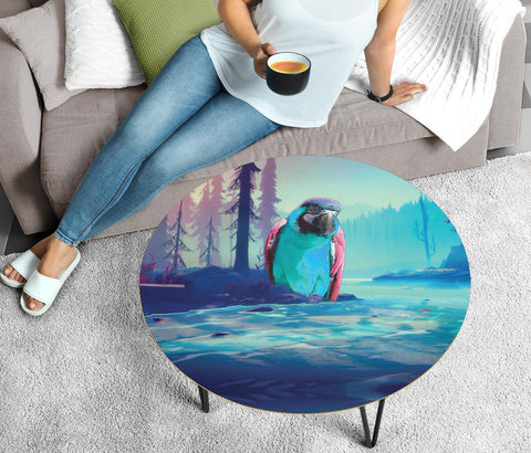 Catalina Macaw Print Circular Coffee Table