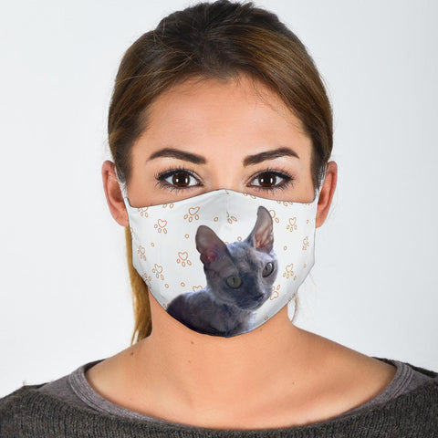 Lovely Devon Rex Cat Paws Print Face Mask