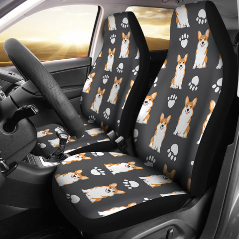 Pembroke Welsh Corgi With Paws Print Car Seat Covers