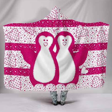 Cute Penguin Love Print Hooded Blanket