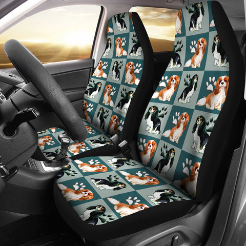 Cavalier King Charles Spaniel Dog Pattern Print Car Seat Covers