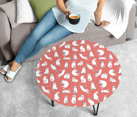 White Persian Cat Pattern Print Circular Coffee Table