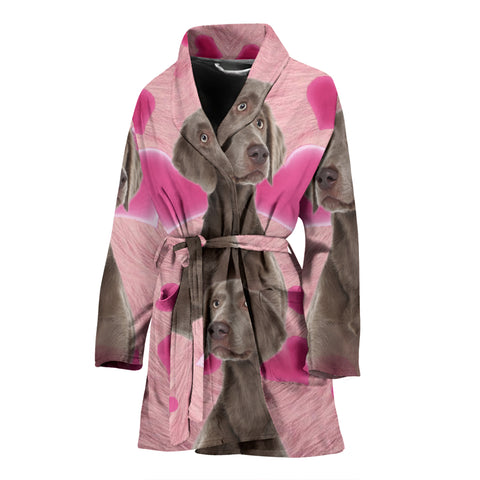Lovely Weimaraner Print Women's Bath Robe