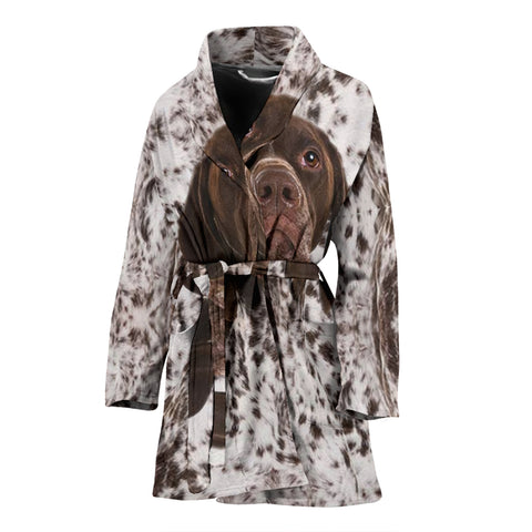 Amazing German Shorthaired Pointer Face Print Women's Bath Robe