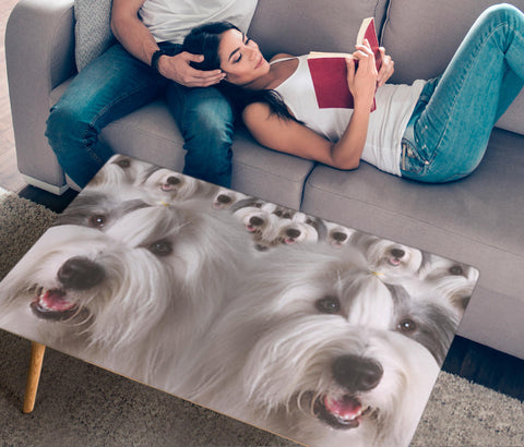 Old English Sheepdog Face Print Rectangular Coffee Table