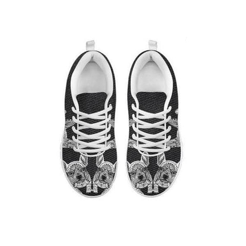 Black&White French Bulldog Print Running Shoes For WomenFor 24 Hours Only