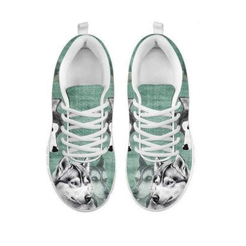 Siberian Husky Sketch Print Running Shoes For WomenFor 24 Hours Only