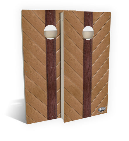 Tan Angled Strips Cornhole Board Set (includes 8 all-weather bags)