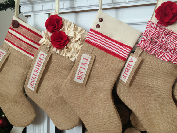 Personalized Burlap Christmas Stocking Red and White Collection