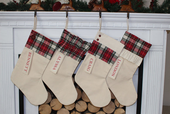 Personalized Red and Black Plaid Christmas Stocking