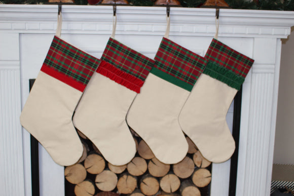 Plaid Christmas Stocking Red and Green Plaid