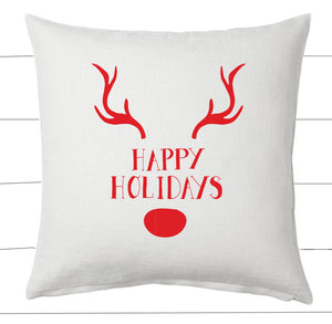 Red and White Happy Holidays Reindeer Christmas Pillow