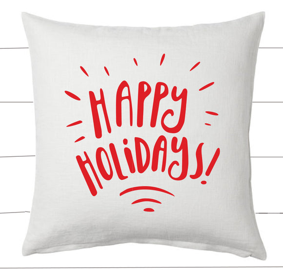 Red and White Happy Holidays Christmas Pillow