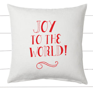 Red and White Joy to the World Christmas Pillow