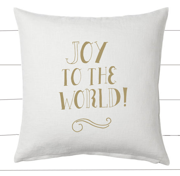 Gold and White Joy to the World Christmas Pillow