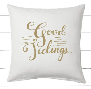 Gold and White Good Tidings Christmas Pillow