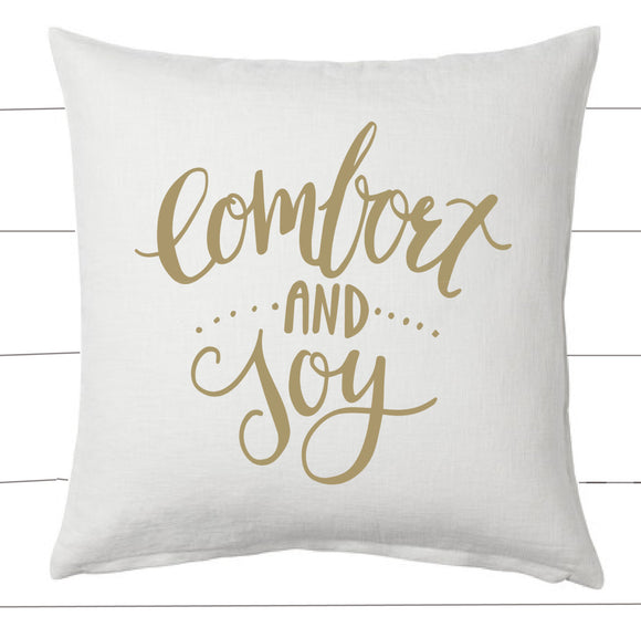 Gold and White Comfort and Joy Christmas Pillow