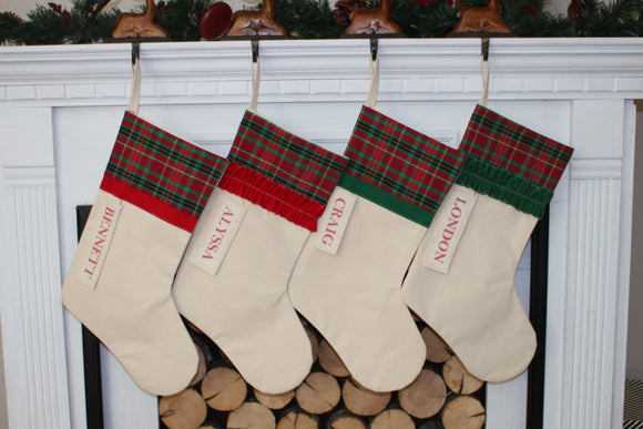 Personalized Plaid Christmas Stocking Red and Green