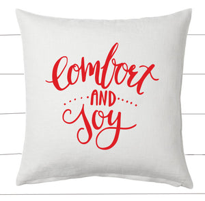 Red and White Comfort and Joy Christmas Pillow