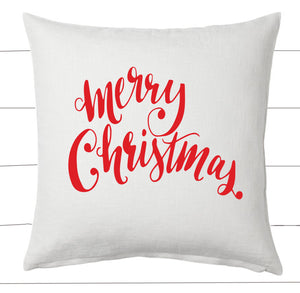 Red and White Merry Christmas Pillow