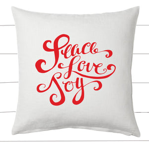 Red and White Peace Love Joy Christmas Pillow