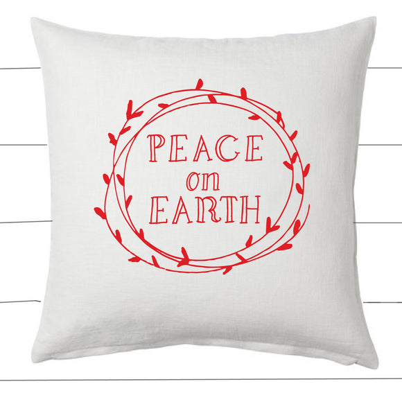 Red and White Peace On Earth Christmas Pillow