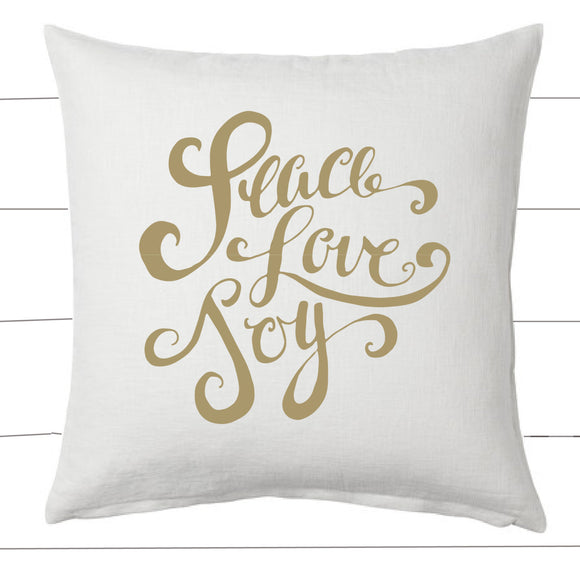 Gold and White Peace Love Joy Christmas Pillow