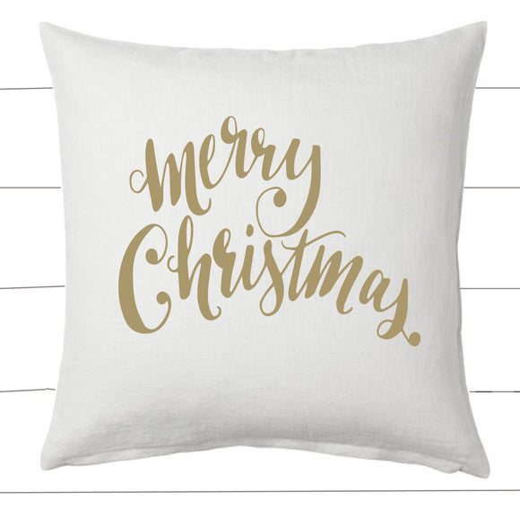 Gold and White Merry Christmas Pillow