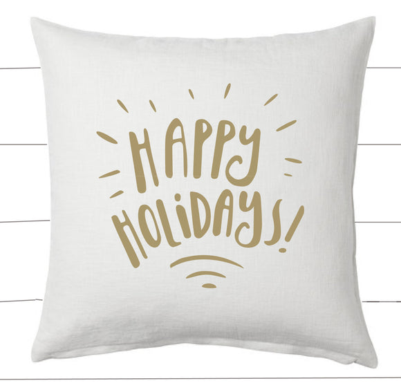 Gold and White Happy Holidays Christmas Pillow