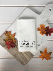 Happy Thanksgiving Scroll Linen Napkins