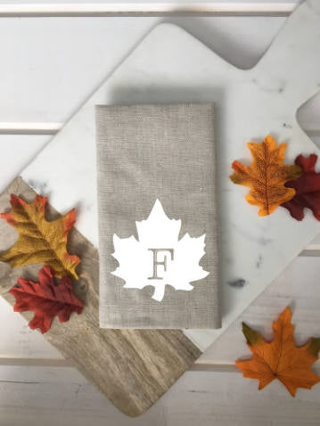 Personalized Monogram Fall Leaf Linen Napkins