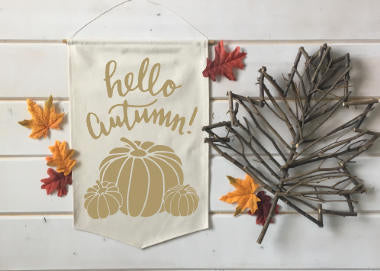 Hello Autumn with Pumpkins Fall Banner